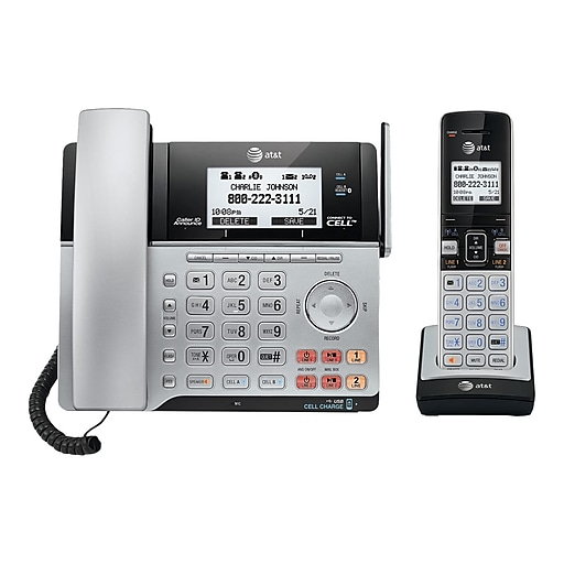 dddc0559e28 AT T TL86103 DECT 6.0 2-Line Expandable Corded Cordless Phone with  Bluetooth Connect to Cell and Answering System