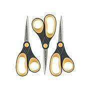 """Westcott Titanium Bonded Non-Stick 8"""" Titanium Standard Scissors, Pointed Tip, Gray/Orange, 3/Pack (15454)"""