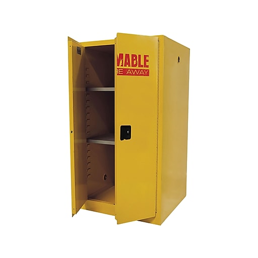 """Sandusky Lee Flammable 65"""" Steel Storage Cabinet with 2 Shelves, Safety Yellow (SC600F-P)"""