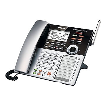 VTech Small Business CM18245 4-Line Cordless Extension Phone, Silver/Black