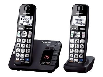 Panasonic KX-TGE232B Single Line Cordless Phone, Black