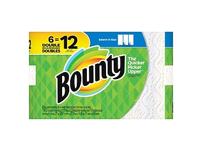Bounty Select-A-Size Kitchen Rolls Paper Towels, 2-Ply, 110 Sheets/Roll, 6 Rolls/Carton (74801/95054)