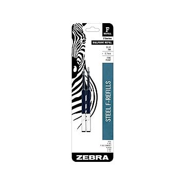 Zebra Steel F-Refill Ballpoint Pen Refill, Fine Tip, Blue Ink, 2/Pack (85522)