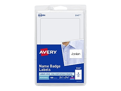 photo regarding Name Tag Printable identified as Avery Sticker Standing Tag/Label, White, 100/Pack (5147)