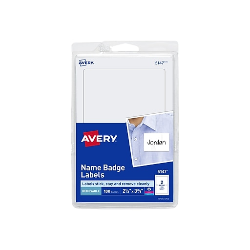Avery Sticker Name Tag/Label, White, 100/Pack (5147)