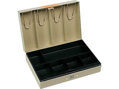 MMF STEELMASTER Cash Box, 10 Compartments, Sand