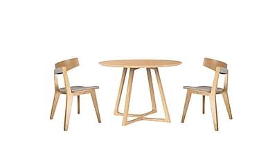 Malmo Ashtree Wood Round Dining Set Oak