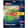 """Avery High Visibility Laser Shipping Labels, 2"""" x 4"""", Assorted Colors, 150 Labels Per Pack (5978)"""