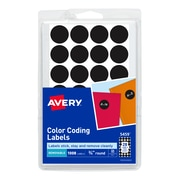 "Avery Hand Written Color Coding Labels, 3/4"" Dia., Black, 28/Sheet, 36 Sheets/Pack (5459)"