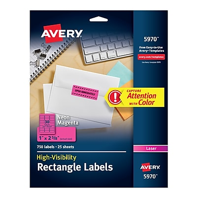 "Avery High-Visibility Laser Multipurpose Labels, 1"" x 2 5/8"", Neon Magenta, 30/Sheet, 25 Sheets/Pack (5970)"