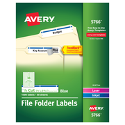 "Avery TrueBlock Laser/Inkjet File Folder Labels, 2/3"" x 3 7/16"", Blue, 30 Labels/Sheet, 50 Sheets/Pack (5766)"