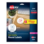 "Avery High Visibility Laser Shipping Labels, 2.5""Dia., White, 300/Pack (5294)"