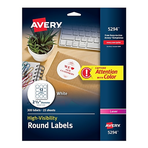 Avery 25 Dia Laser High Visibility Labels White Pack 5294