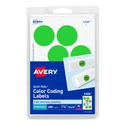 """Avery Laser Color Coding Labels, 1 1/4"""" Dia., Neon Green, 8/Sheet, 50 Sheets/Pack (5498)"""