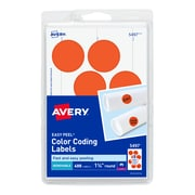 "Avery Laser Color Coding Labels, 1 1/4"" Dia., Neon Red, 8/Sheet, 50 Sheets/Pack (5497)"