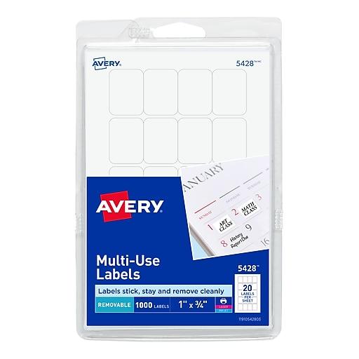 """Avery Laser/Inkjet Multipurpose Labels, 1"""" x 3/4"""", White, 20/Sheet, 50 Sheets/Pack (5428)"""