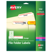 "Avery TrueBlock Laser/Inkjet File Folder Labels, 2/3"" x 3 7/16"", Orange, 30/Sheet, 25 Sheets/Pack (5166)"