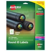 "Avery Laser/Inkjet Identification Labels, 1 5/8"" Dia., Glossy Clear, 20/Sheet, 25 Sheets/Pack (6582)"