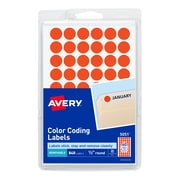 "Avery Removable Self-Adhesive Color-Coding Round Labels, Neon Red, 1/2"" Diameter, 840 Labels/Pk"