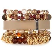 Fit & Fab Natural Stack Bracelet Set, Brown, Neutral, Tan, Gold