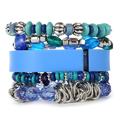 Fit & Fab Blue Stack Bracelet Set, Blue, Silver