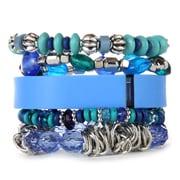 Fit & Fab Blue Stack Bracelet Set, Blue, Silver