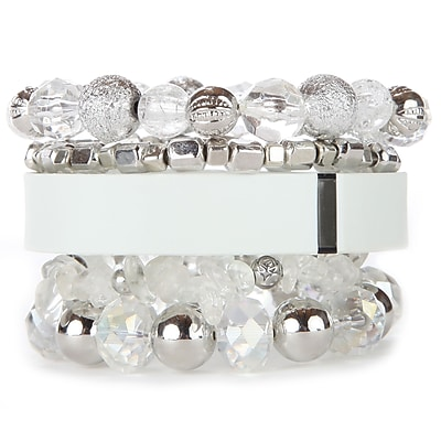 Fit & Fab White Stack Bracelet Set, White, Silver