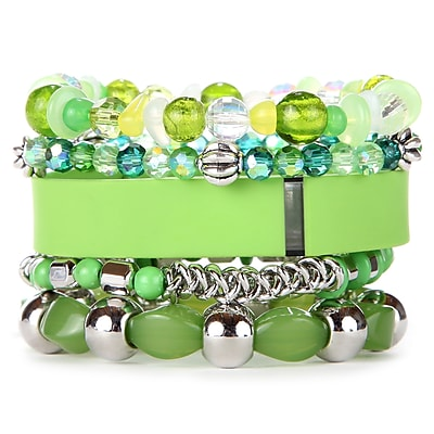 Fit & Fab Lime Stack Bracelets Set, Green, Silver
