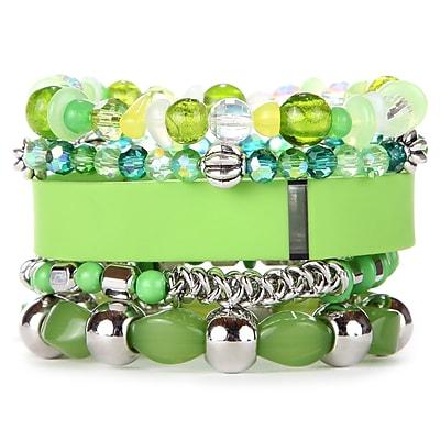 Fit & Fab Lime Stack Bracelets Set, Green, Silver