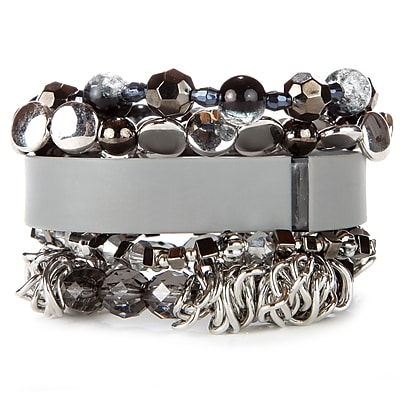 Fit & Fab Grey Stack Bracelet Set, Silver