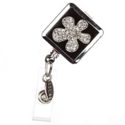 BooJee Pansy Badge Reel, Silver, Black