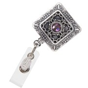 BooJee Vintage Square Badge Reel, Silver, Purple