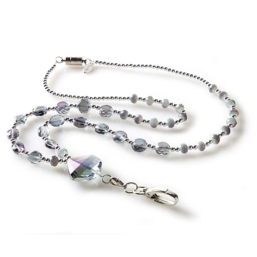 BooJee Aurora Beaded Lanyard, Silver, Iridescent