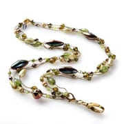 BooJee Devi Beaded Lanyard, Greens, Gold