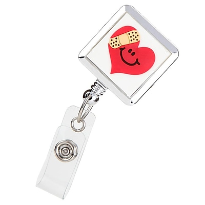 ID Avenue Mended Heart Badge Reel, Silver, White, Red