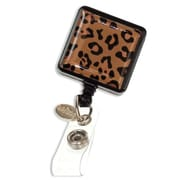 ID Avenue Leopard Badge Reel, Black, Tan