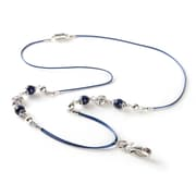 ID Avenue Lapis Beaded Lanyard, Blue, Silver