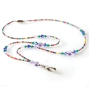ID Avenue Mardi Gras Beaded Lanyard, Lavender, Blue, Multi-Color