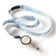 ID Avenue Fish Ribbon Lanyard  , Blues, Yellow, Silver