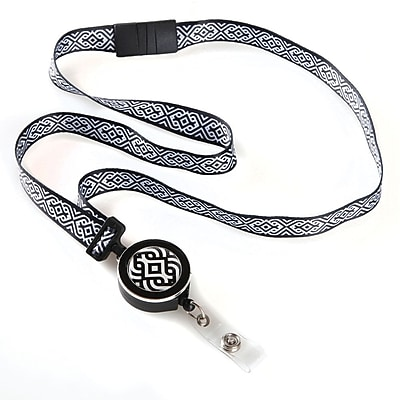 ID Avenue Scroll Ribbon Lanyard, Black, White