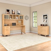 Bush Furniture Somerset 72W Office Desk with Hutch and Lateral File Cabinet, Maple Cross (SET019MC)