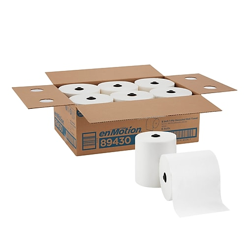 "enMotion® 8"" Recycled Paper Towel Roll by GP PRO (Georgia-Pacific), White, 700 Feet Per Roll, 6 Rolls/Carton (89430)"
