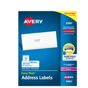 "Avery Easy Peel Laser Address Labels, 1"" x 2 5/8"", White, 7500/Box (5960)"