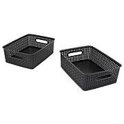 Advantus Weave Plastic Bins, Black, 3/Pack