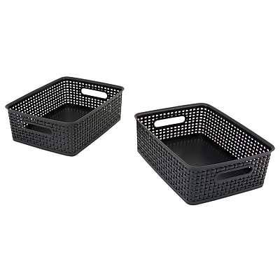Advantus Weave Plastic Bins, Black, 3/Pack