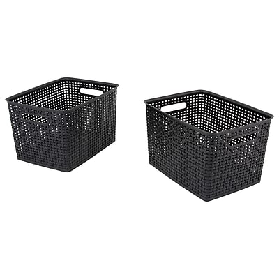 Advantus Weave Plastic Bin, Black, 2/Pack