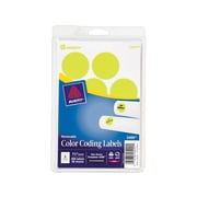 """Avery Easy Peel Laser Color Coding Labels, 1 1/4"""" Dia, Neon Yellow, 8 Labels/Sheet, 50 Sheets/Pack (5499)"""