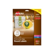 "Avery Easy Peel Laser/Inkjet Multipurpose Labels, 2"" Dia, Glossy White, 12 Labels/Sheet, 10 Sheets/Pack (22807)"