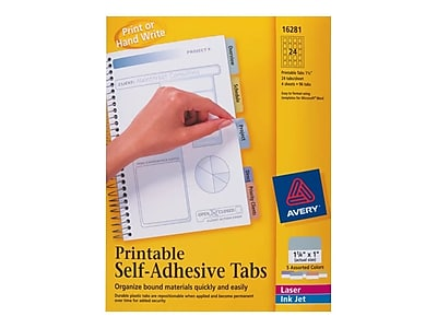 graphic relating to Printable Index Tabs known as Avery Index Tabs, Diversified Shades, 96 Tabs/Pack (16281)