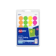 "Avery Easy Peel Laser Color Coding Labels, 3/4"" Dia., Assorted Colors, 24 Labels/Sheet, 42 Sheets/Pack (5474)"